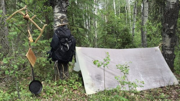 Solo Overnight Camping - Wax Cloth Tarp, Cooking, Hanging Rack, Wood Box Carving & More